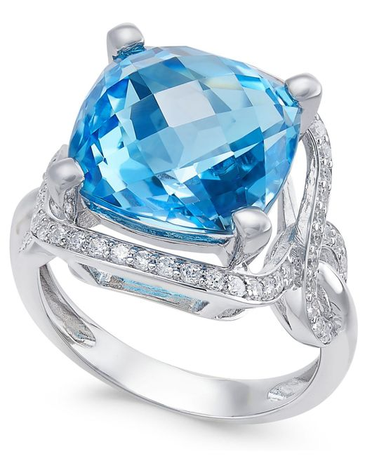 Macy's - Blue Topaz (8 Ct. T.w.) And Diamond (3/8 Ct. T.w.) Ring In 14k White Gold - Lyst