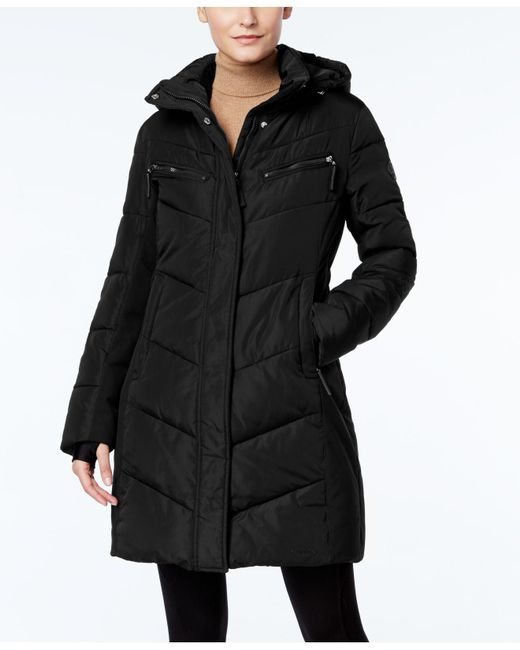 Calvin Klein | Black Hooded Quilted Colorblock Puffer Coat | Lyst