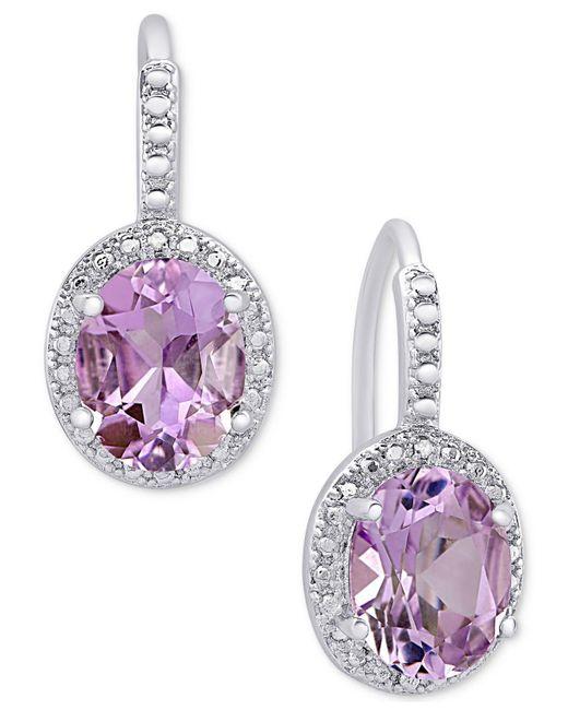 Macy's | Metallic Amethyst (2-2/5 Ct. T.w.) And Diamond Accent Drop Earrings In Sterling Silver | Lyst