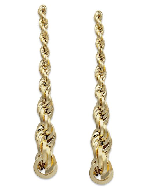 Macy's - Metallic Graduated Rope Linear Earrings In 14k Gold - Lyst