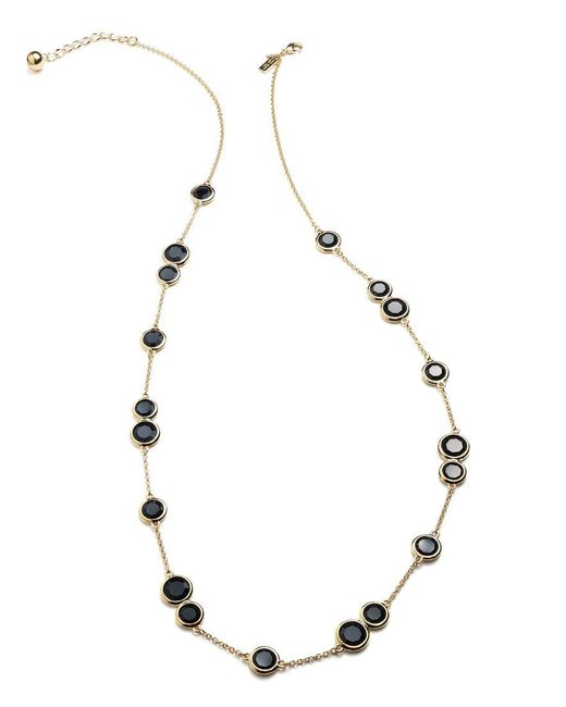 kate spade new york | Metallic Necklace, 12k Gold-plated Black Crystal Stone Scatter Necklace | Lyst