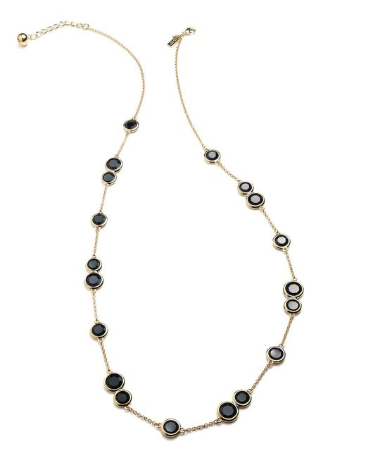 Kate Spade | Metallic Necklace, 12k Gold-plated Black Crystal Stone Scatter Necklace | Lyst