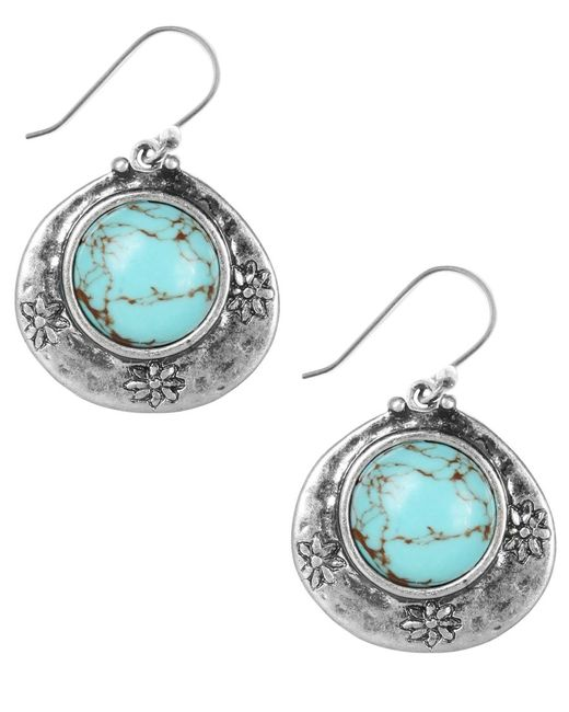 Lucky Brand | Metallic Earrings, Silver-tone Turquoise Drop Earrings | Lyst