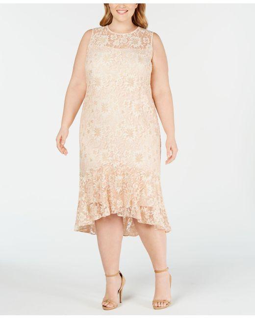 Lyst - Calvin Klein Plus Size Lace High-low Midi Dress