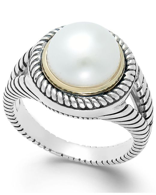 Macy's | Metallic Cultured Freshwater Pearl Rope Ring In Sterling Silver And 14k Gold (10mm) | Lyst