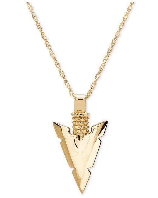 """Macy's - Metallic Spear Head 24"""" Pendant Necklace In 10k Gold - Lyst"""