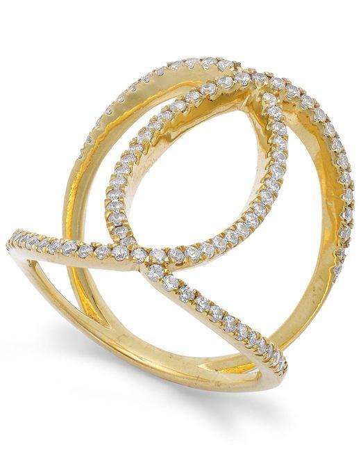 Macy's   Metallic Diamond Interlocking Ring In 14k Gold (1/2 Ct. T.w.)   Lyst