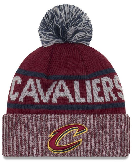 42017860ced ... czech ktz red cleveland cavaliers court force pom knit hat lyst 9a62c  faf8c