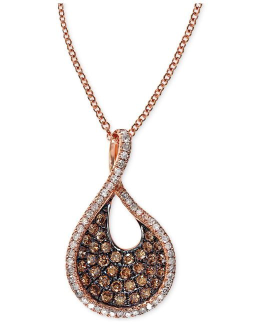 Effy Collection - Pink Effy Espresso Diamond Swirl Pendant Necklace (1/2 Ct. T.w.) In 14k Rose Gold - Lyst