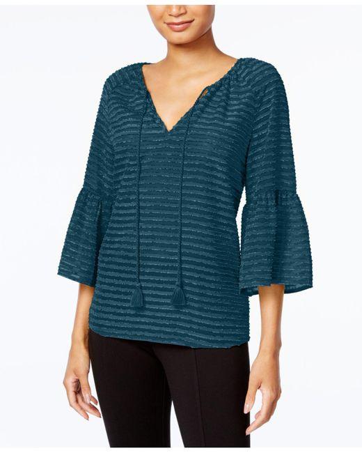Kensie | Multicolor Striped Ruffle-sleeve Top | Lyst