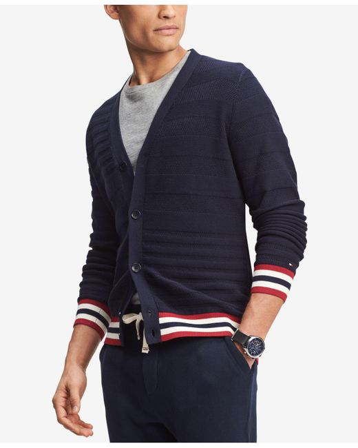 Tommy Hilfiger - Blue Logo Ribbed Cardigan Sweater, Created For Macy's for Men - Lyst