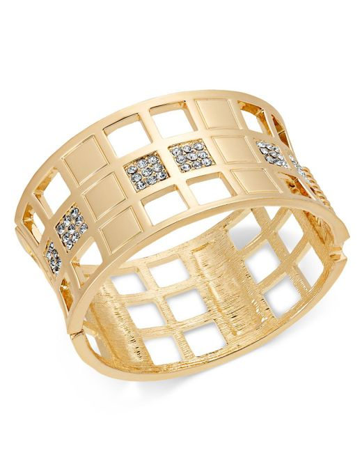 INC International Concepts - Metallic I.n.c. Gold-tone Crystal Checkered Bangle Bracelet, Created For Macy's - Lyst