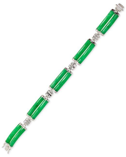 Macy's - Green Dyed Jade (5 X 27mm) Two-row Bracelet In Sterling Silver - Lyst