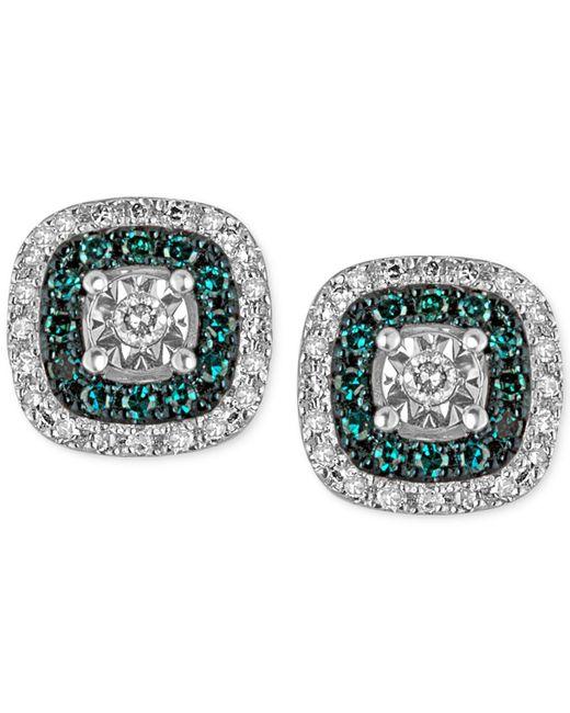 Macy's - Metallic Diamond Multicolor Stud Earrings (1/4 Ct. T.w.) In Sterling Silver - Lyst