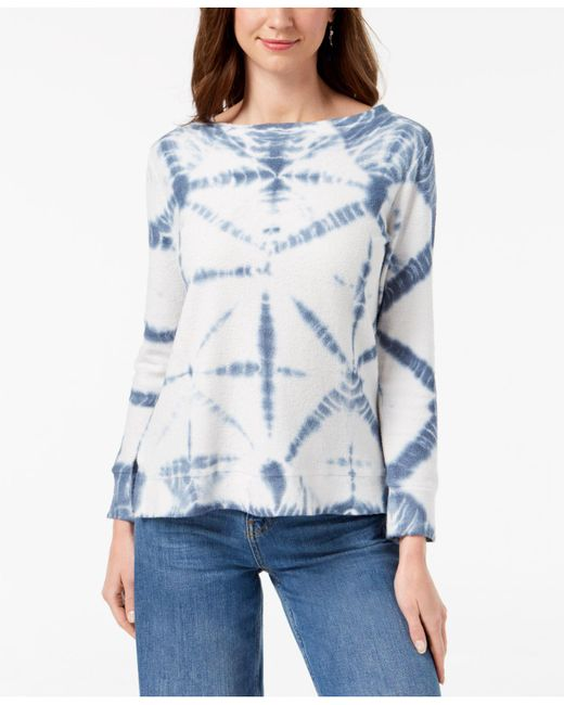 Style & Co. - Blue Cotton Tie-dyed Sweatshirt, Created For Macy's - Lyst