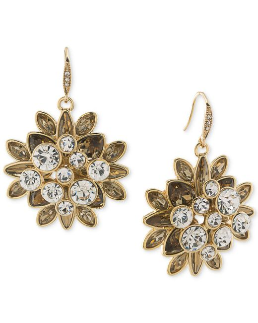 Carolee - Metallic Gold-tone Crystal Cluster Drop Earrings - Lyst