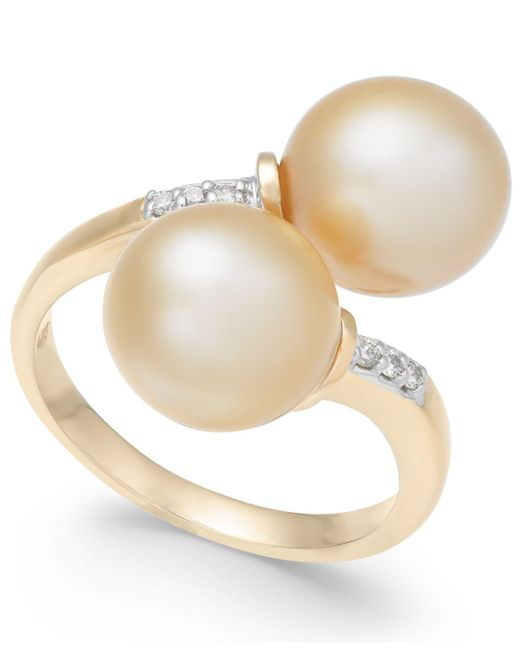 Macy's - Metallic Cultured Golden South Sea Pearl (9mm) And Diamond Accent Bypass Ring In 14k Gold - Lyst