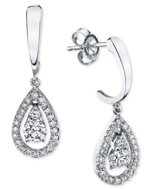 Macy's - Multicolor Diamond Teardrop Orbital Drop Earrings (1/3 Ct. T.w.) In 14k White Gold - Lyst