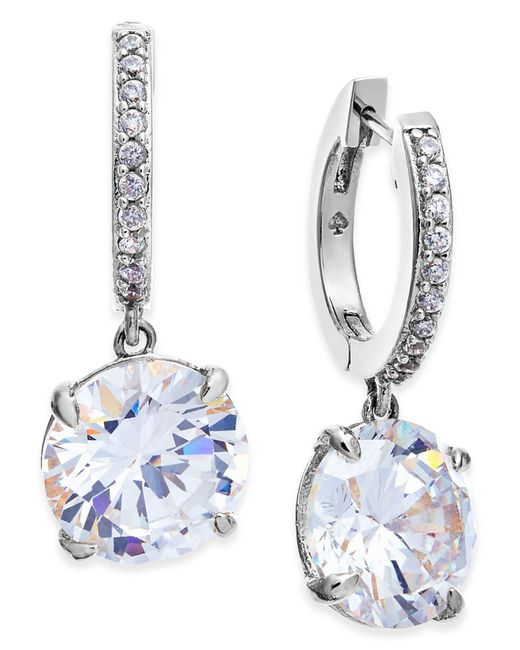 Kate Spade | Metallic Silver-tone Crystal And Pavé Drop Earrings | Lyst