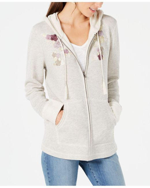 Style & Co. - Gray Embroidered Zip-front Hoodie, Created For Macy's - Lyst
