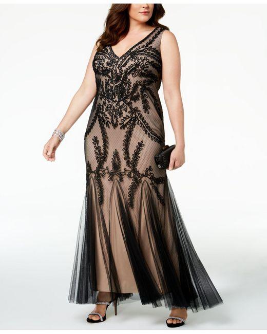 Betsy & Adam - Black Plus Size Soutache Godet Gown - Lyst