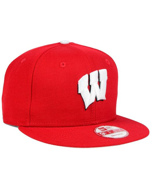 quality design 60d37 74ab3 ... KTZ - Red Wisconsin Badgers Core 9fifty Snapback Cap for Men - Lyst ...