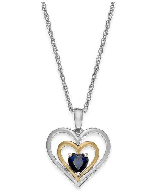 Macy's - Metallic Ruby Heart Pendant Necklace In 14k Gold And Sterling Silver (5/8 Ct. T.w.) - Lyst