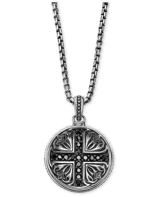Scott Kay - Metallic Men's Black Sapphire Medallion Pendant Necklace (5/8 Ct. T.w.) In Sterling Silver for Men - Lyst