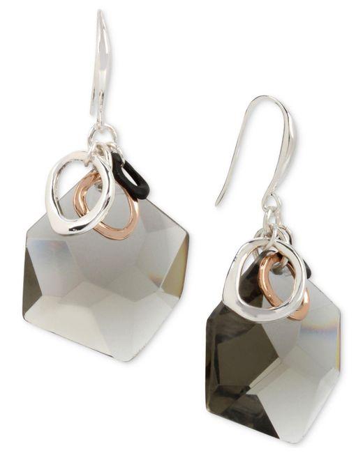 Robert Lee Morris - Metallic Tri-tone Rings & Hematite Stone Drop Earrings - Lyst