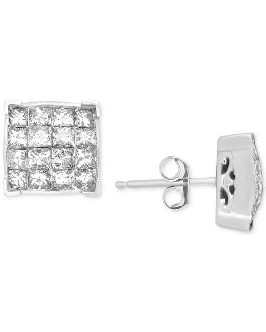 Macy's - Metallic Diamond Square Cluster Stud Earrings (1-1/2 Ct. T.w.) In 14k White Gold - Lyst