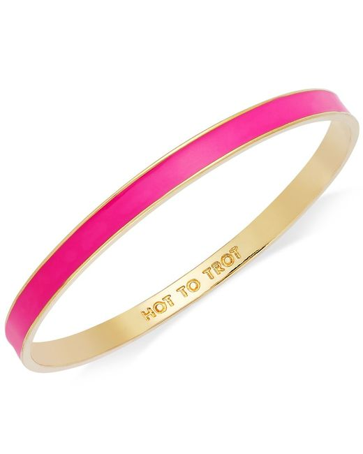 "kate spade new york | Bracelet, Gold-tone Fluorescent Pink ""hot To Trot"" Idiom Bangle Bracelet 