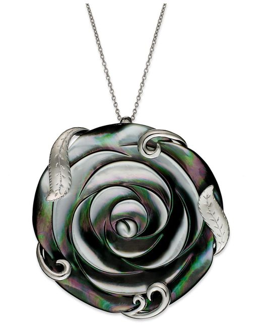 Macy's | Metallic Sterling Silver Necklace, Cultured Tahitian Mother Of Pearl Flower Pendant (50mm) | Lyst