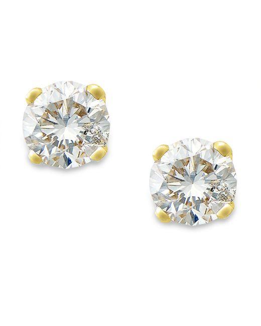 Macy's - Metallic Round-cut Diamond Stud Earrings In 10k Gold (1/10 Ct. T.w.) - Lyst