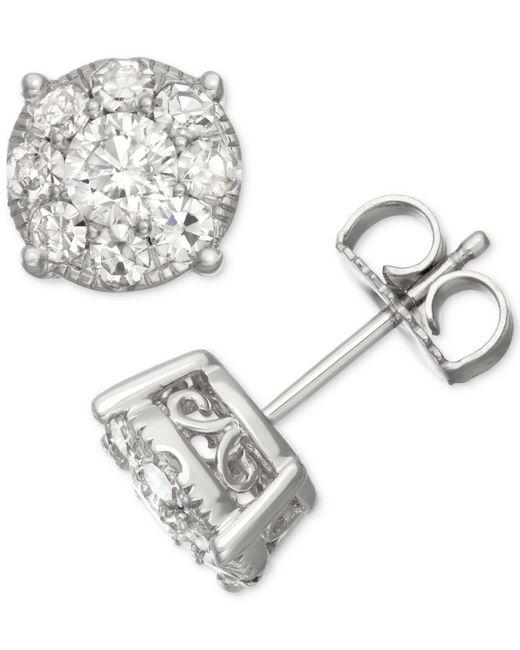 Macy's - Multicolor Diamond Halo Stud Earrings (1-1/2 Ct. T.w.) In 14k White Gold - Lyst