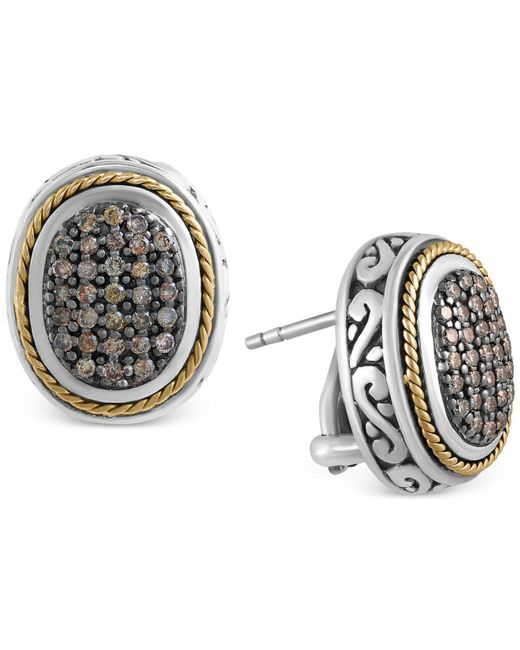 Effy Collection - Metallic Brown Diamond Oval Earrings (5/8 Ct. T.w.) In Sterling Silver And 18k Gold - Lyst