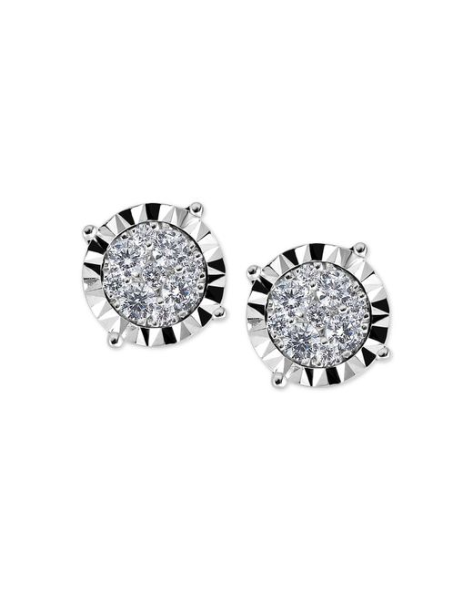 Macy's - Metallic Diamond Cluster Miracle-plate Stud Earrings (1/2 Ct. T.w.) In 14k White Gold - Lyst