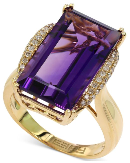 Effy Collection - Purple Amethyst (9-5/8 Ct. T.w.) And Diamond (1/6 Ct. T.w.) Ring In 14k Gold - Lyst