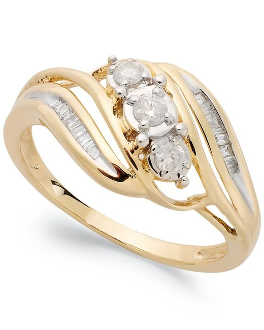 Macy's - Yellow Diamond Three-stone Ring In 10k White Gold (1/5 Ct. T.w.) - Lyst