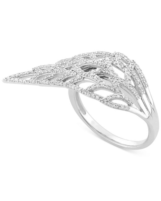 Wrapped in Love | Metallic Diamond Feather Ring (1/2 Ct. T.w.) In 10k White Gold | Lyst