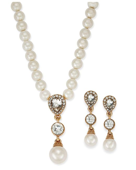 Charter Club - Metallic Gold-tone Cubic Zirconia And Imitation Pearl Lariat Necklace & Drop Earrings Set - Lyst
