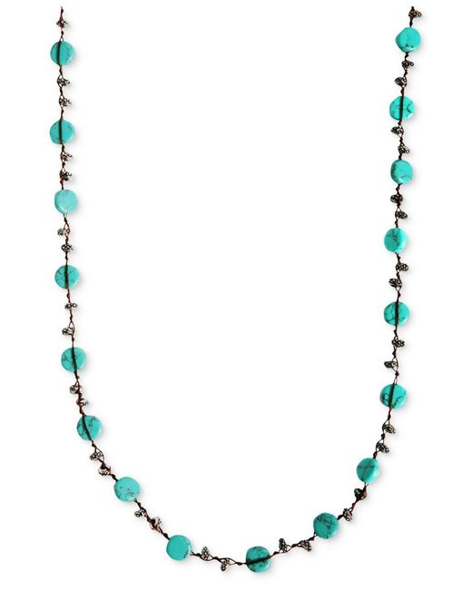 Lucky Brand | Blue Necklace, Reconstituted Turquoise Hammered Coin Necklace | Lyst