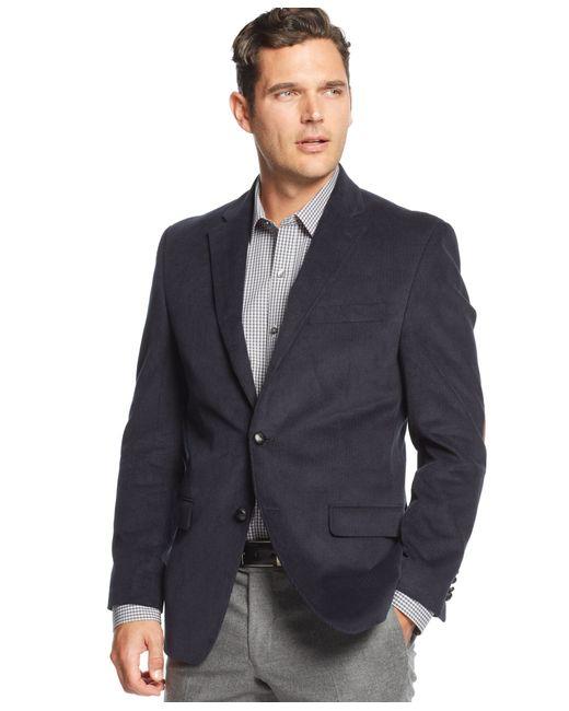 lauren by ralph lauren big and tall elbow patch corduroy sport coat in blue for men navy lyst. Black Bedroom Furniture Sets. Home Design Ideas