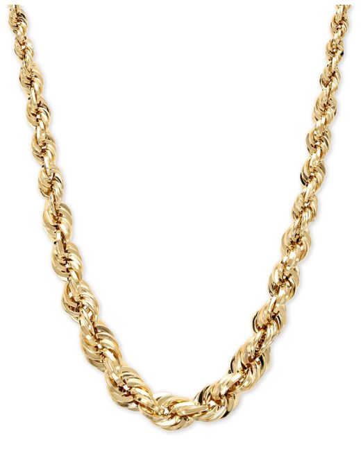 Macy's - Metallic Square Graduated Polished Rope Chain In 14k Gold - Lyst