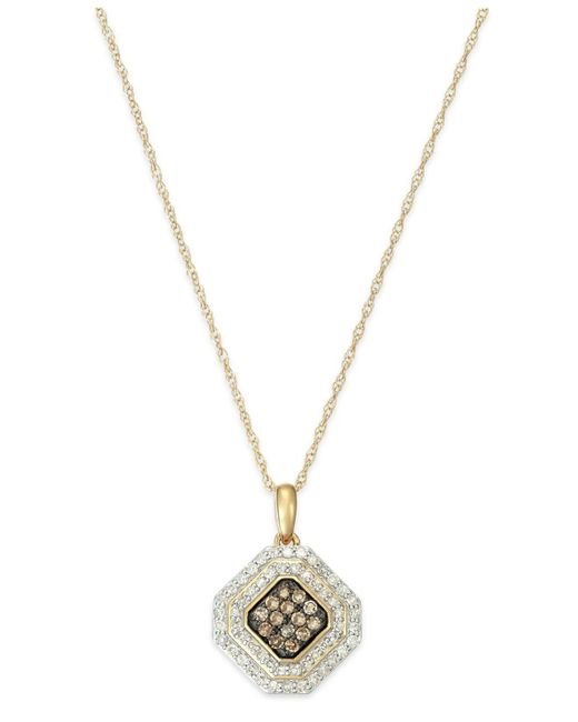 Wrapped in Love - Metallic White And Brown Diamond Pendant Necklace In 14k Gold (1/2 Ct. T.w.) - Lyst