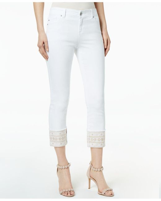 INC International Concepts - White I.n.c. Petite Embroidered-cuff Cropped Skinny Jeans, Created For Macy's - Lyst