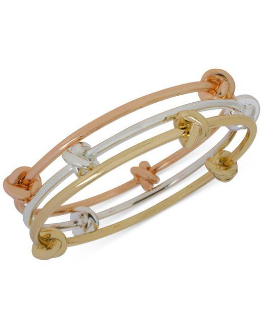 Hint Of Gold | Metallic Tri-tone Bangle Bracelet Trio | Lyst