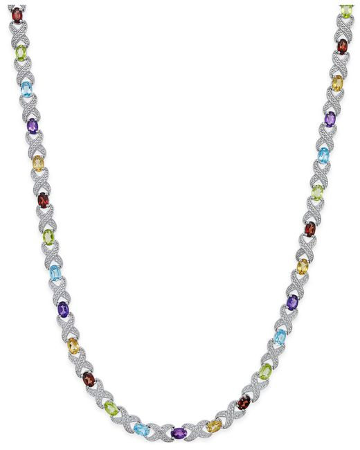 Macy's | Metallic Multi-gemstone Collar Necklace (18 Ct. T.w.) In Sterling Silver | Lyst