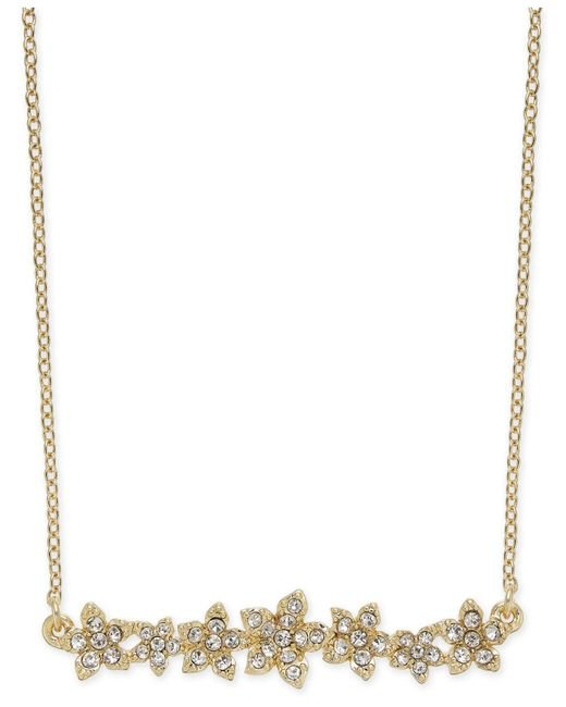 """INC International Concepts - Metallic I.n.c. International Concepts Crystal Cluster Flower Horizontal Bar Pendant Necklace, 16"""" + 3"""" Extender, Created For Macy's - Lyst"""