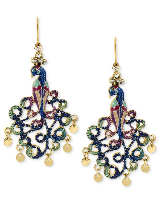 Betsey Johnson | Metallic Gold-tone Peacock Drop Earrings | Lyst