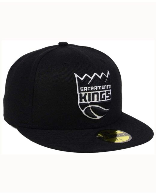 best website 16a54 0fdaa ... norway ktz sacramento kings black white 59fifty cap for men lyst 34964  109b3
